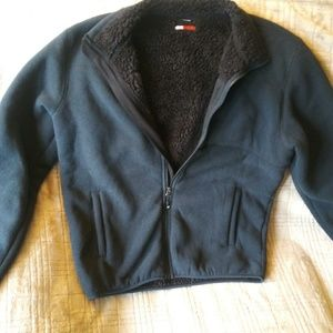 Fleecy warm zippered poly jacket